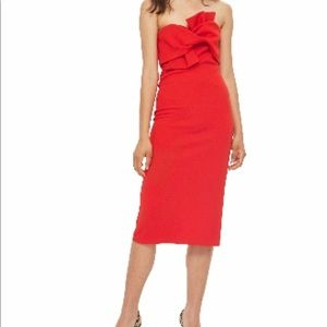 Red Top Shop Bow Tie Textured Midi.